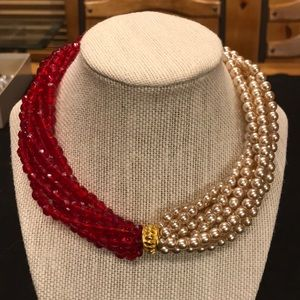 Pearl & Red Bead Vintage Necklace